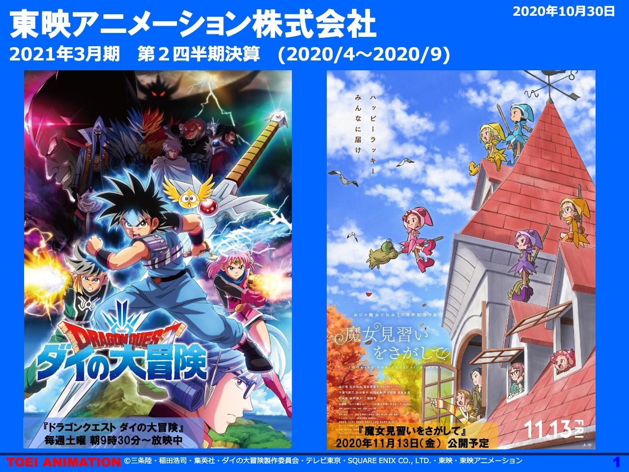 東映アニメーション、2Qは減収減益 版権事業での反動減により売上高は前年同期比−15.7%